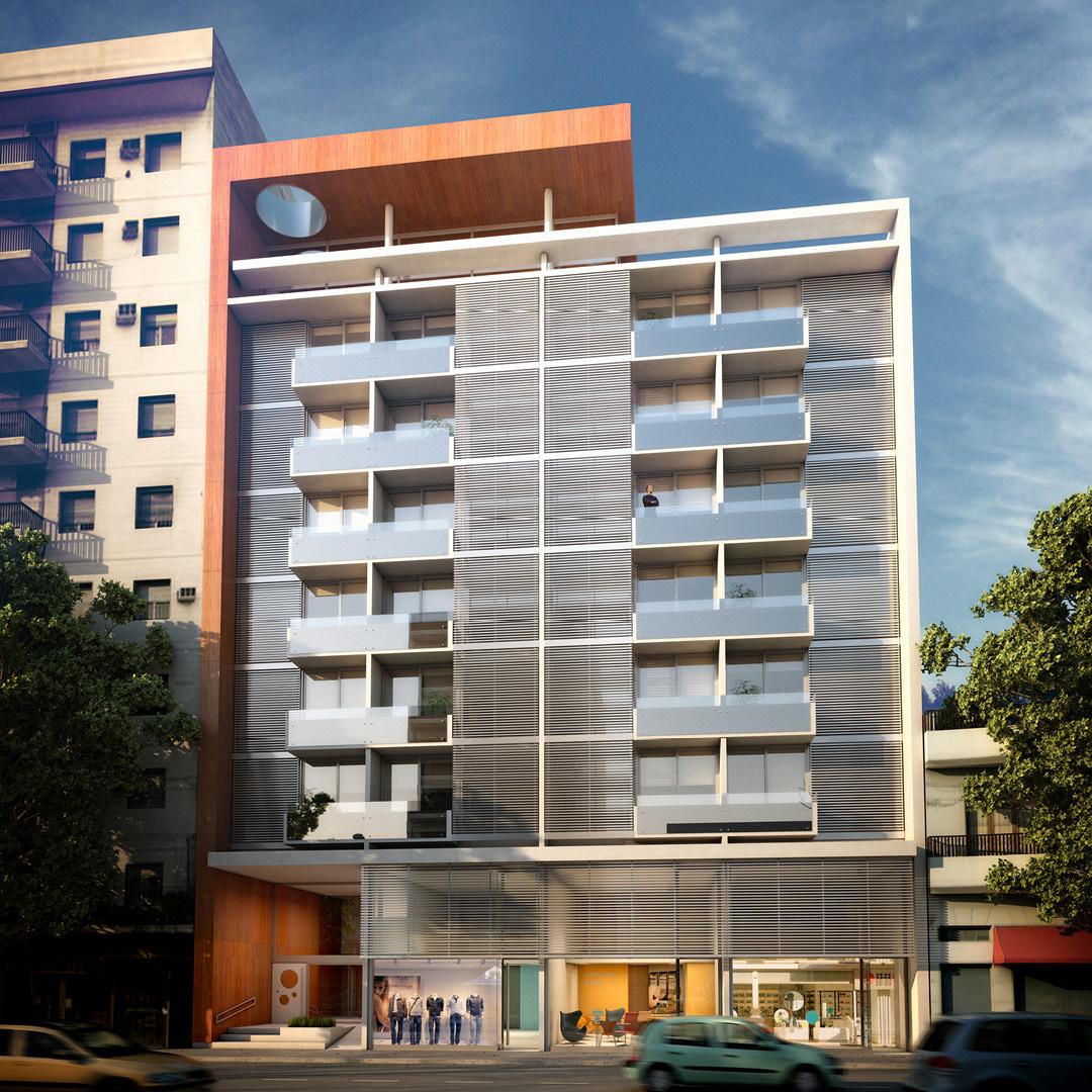 Edificio de viviendas y locales comerciales. Cliente: m2arq.