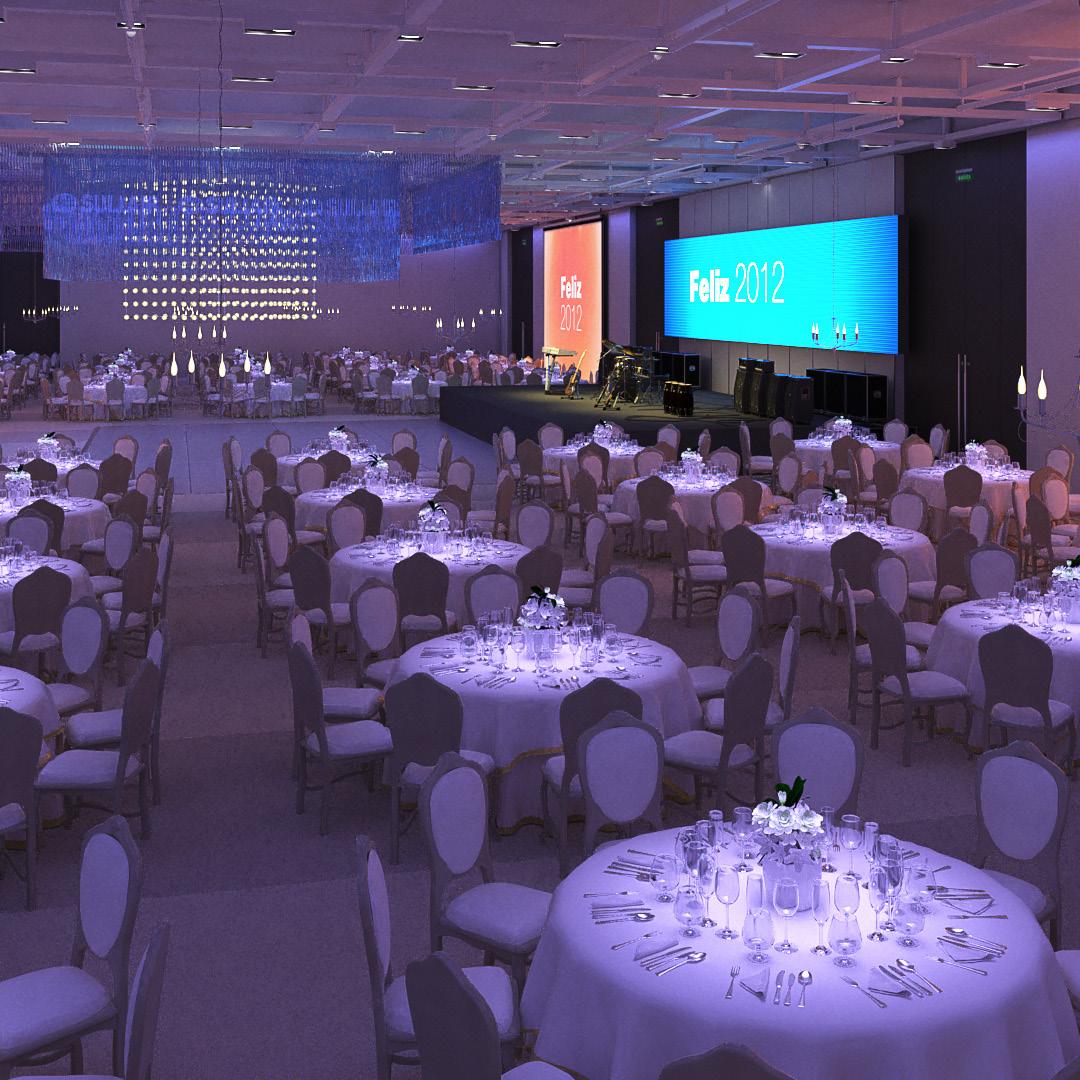 Visualización de evento, salón de fiestas. Cliente: VA Eventos + Comunicación.