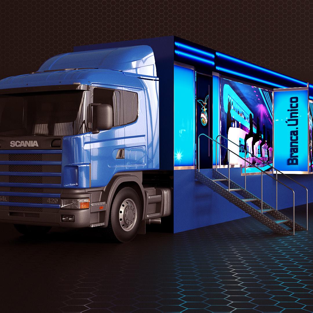 Visualización y diseño de Bar para ploteo en camión promocional. Cliente: In Action BTL para Branca.