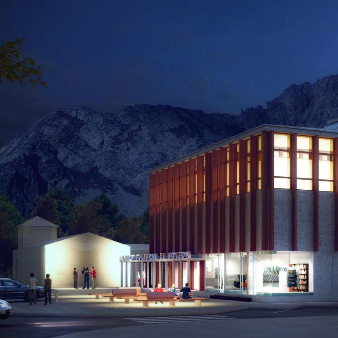 Visualización de diseño para el concurso de arquitectura para la ciudad de El Bolsón. Cliente: Estudio GHBF.