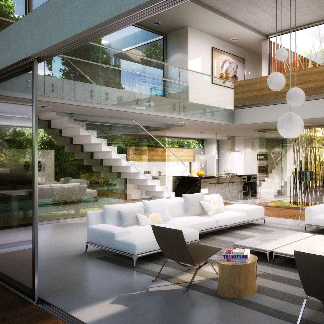 Visualización de diseño de una casa moderna de country. Cliente: m2arq.