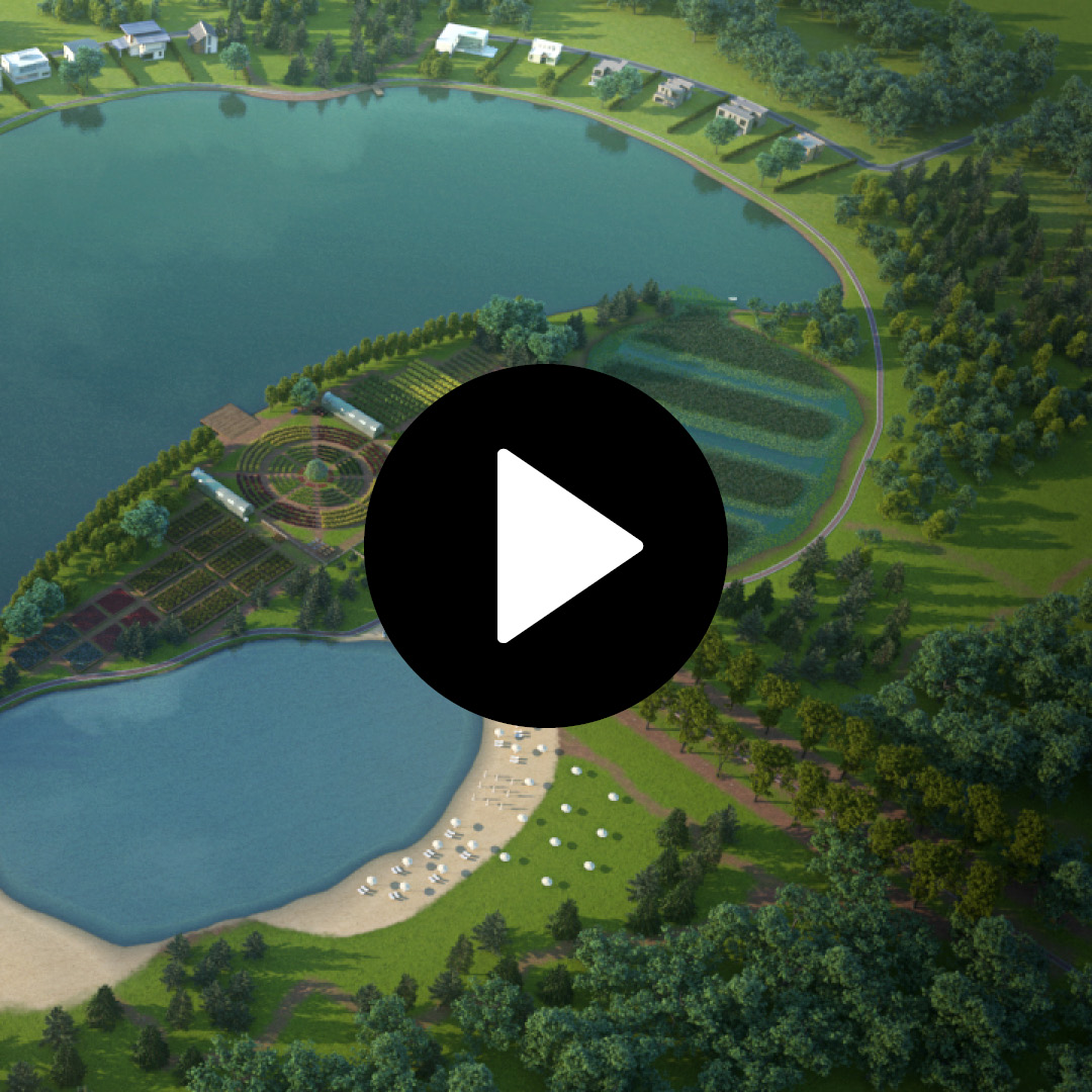 3D modeling and rendering. Artificial Lake and Orchard for Country Side. Client: Fish & Lakes.