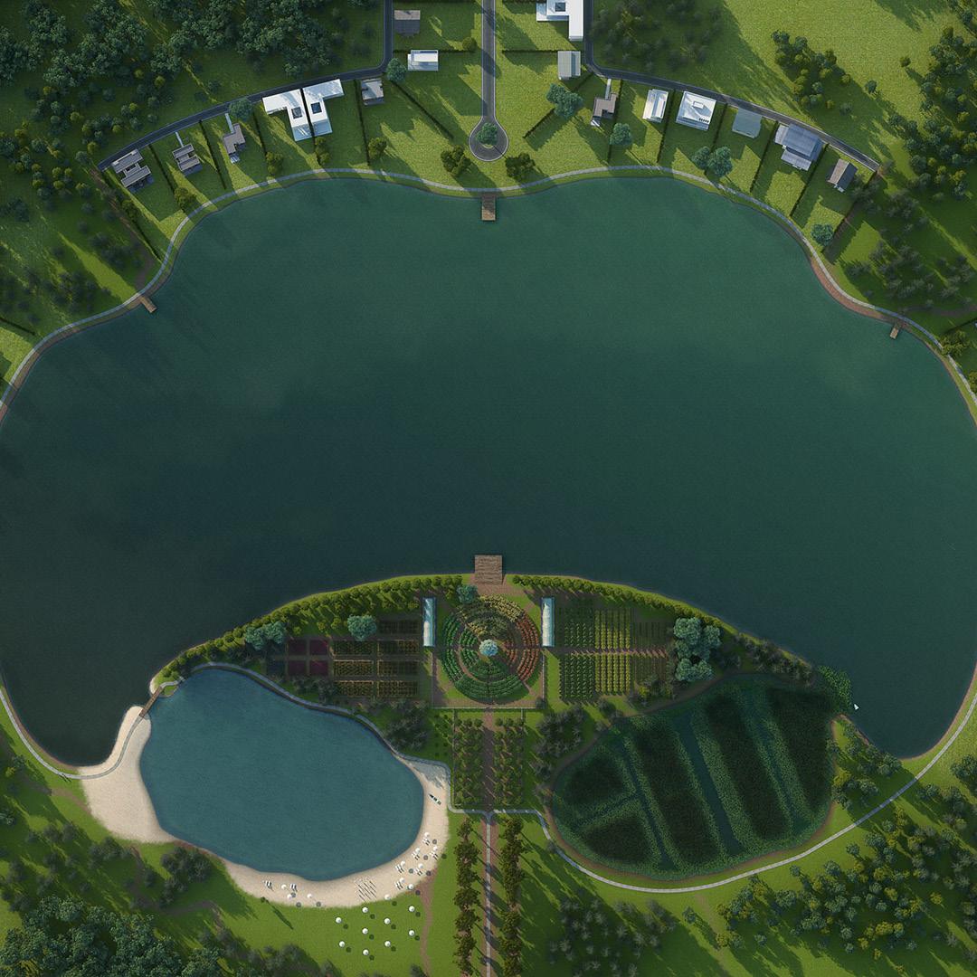 Modelado y Rendering 3D. Laguna artificial y huerto para uso en barrios cerrados o countries. Cliente: Fish & Lakes.