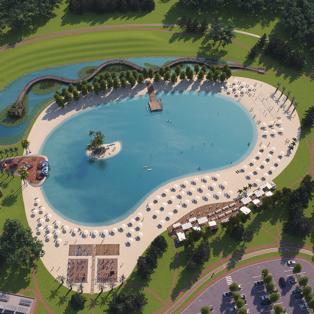 3D modeling and rendering. Artificial beach with activities for community use. Client: Fish & Lakes.