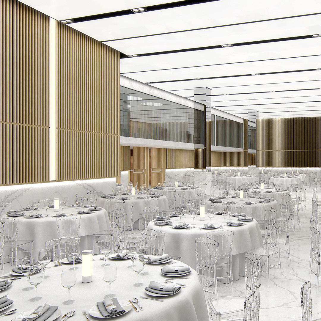 Celebrations Hall. Design visualization.Institutional building with multiple spaces. Client: m2arq.