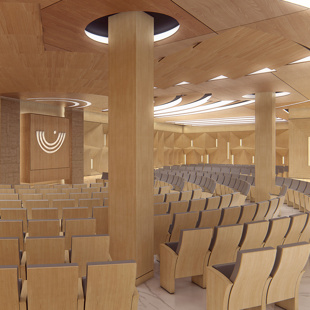 Synagogue. Design visualization.Institutional building with multiple spaces. Client: m2arq.